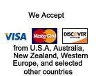 Global Equipment Exporters accepts Visa, Mastercard, and Discover from U.S.A., Australia, New Zealand, Western Europe and selected other countries for purchases of contruction equipment, heavy equipment, machinery, trucks, parts, and attachments